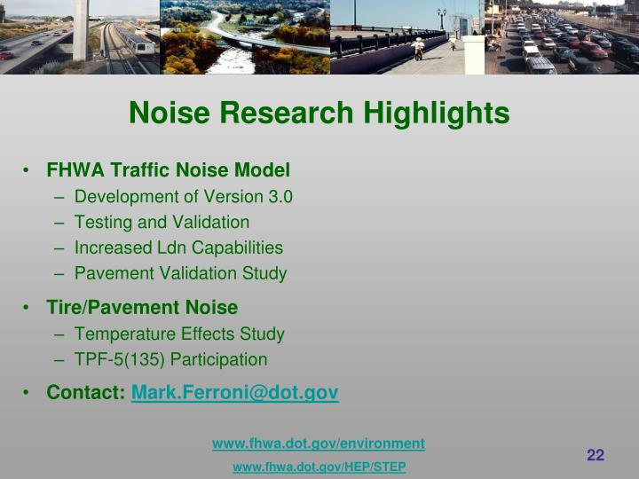 Noise Research Highlights