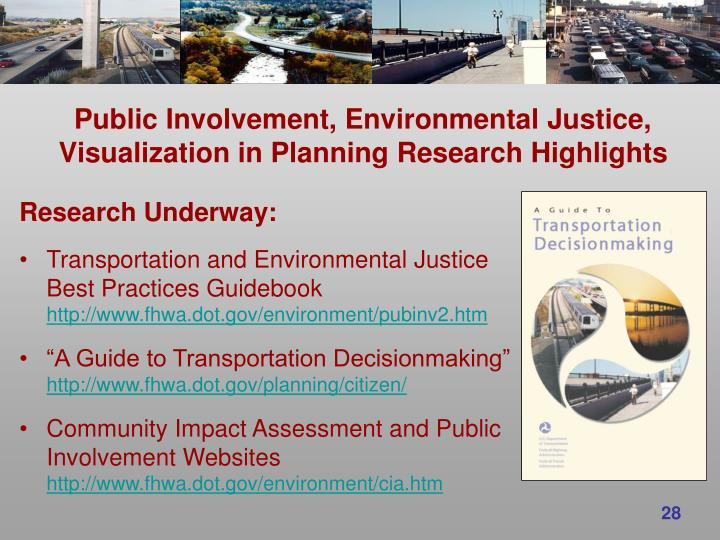 Public Involvement, Environmental Justice, Visualization in Planning Research Highlights