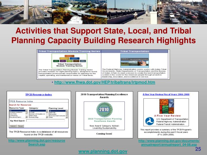 Activities that Support State, Local, and Tribal Planning Capacity Building Research Highlights