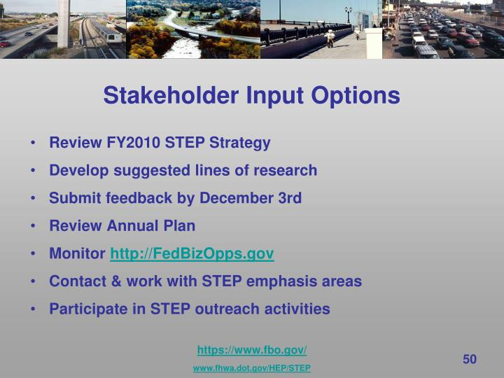 Stakeholder Input Options