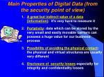 main properties of digital data from the security point of view