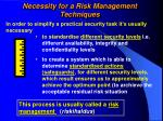 necessity for a risk management techniques