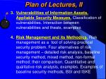 plan of lectures ii