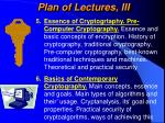 plan of lectures iii