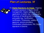 plan of lectures vi