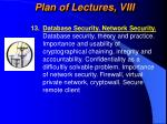 plan of lectures viii