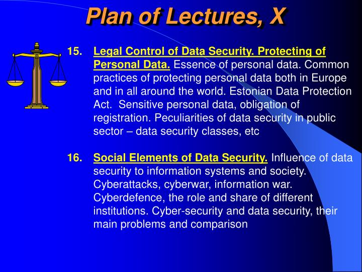 Plan of Lectures, X