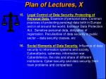plan of lectures x