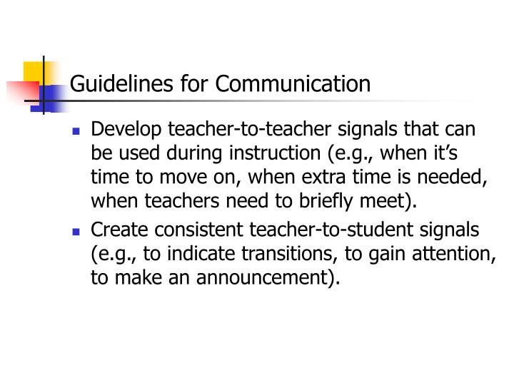 Guidelines for Communication