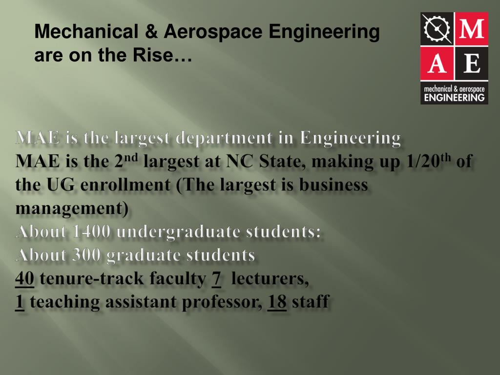 Mechanical & Aerospace Engineering are on the Rise…