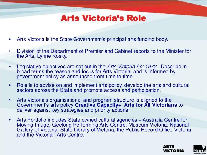 Arts Victoria's Role