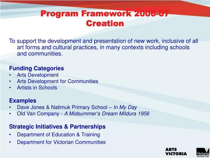 Program Framework 2006-07