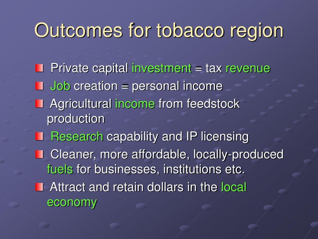 Outcomes for tobacco region