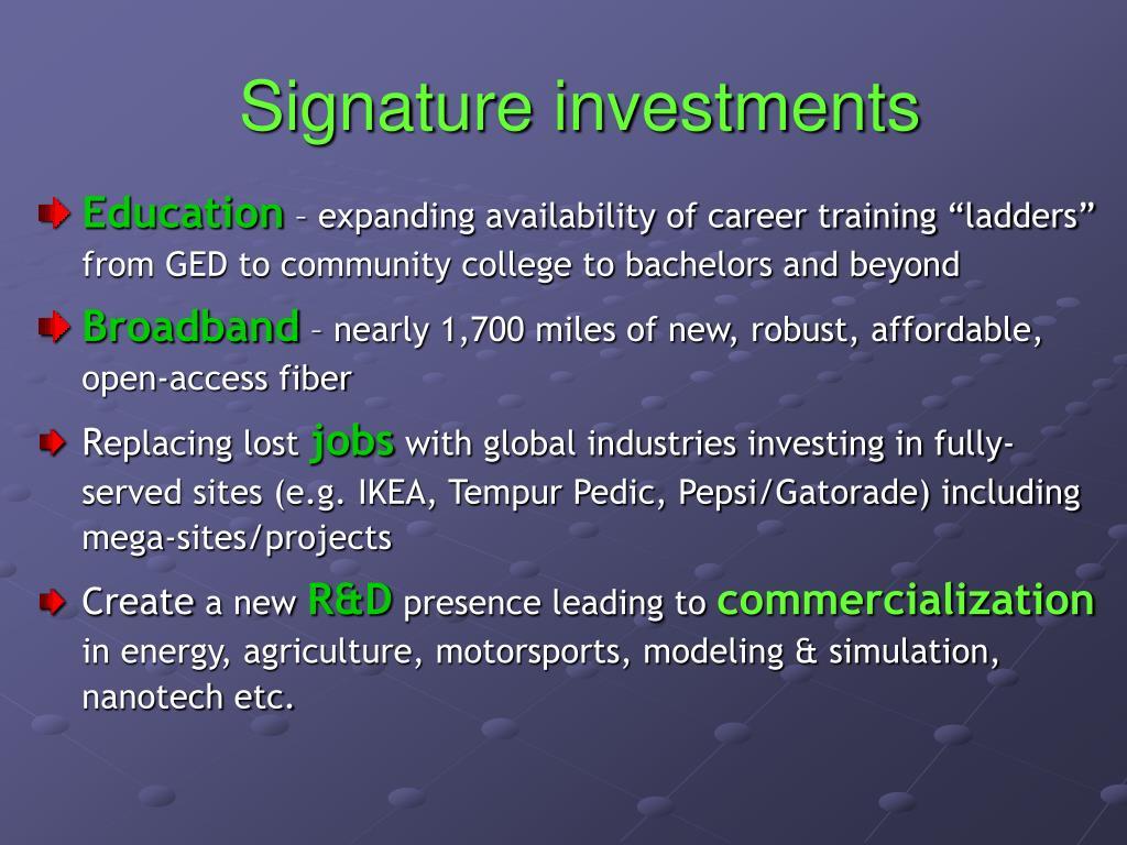 Signature investments