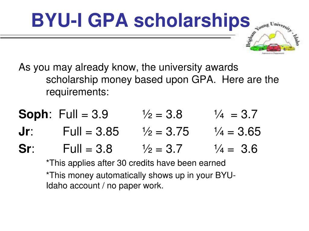 BYU-I GPA scholarships