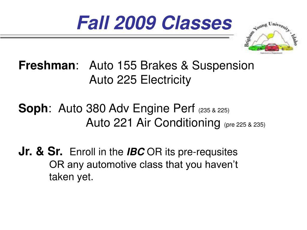 Fall 2009 Classes