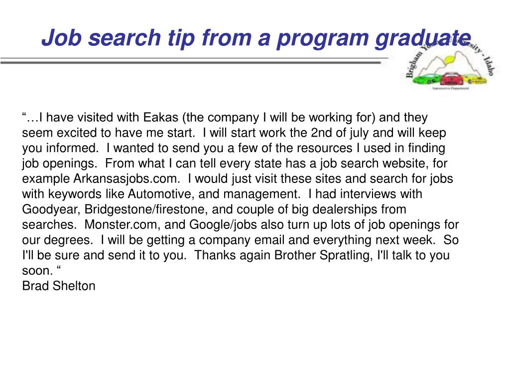 Job search tip from a program graduate