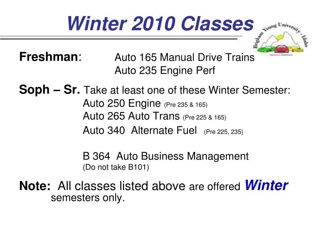 Winter 2010 Classes