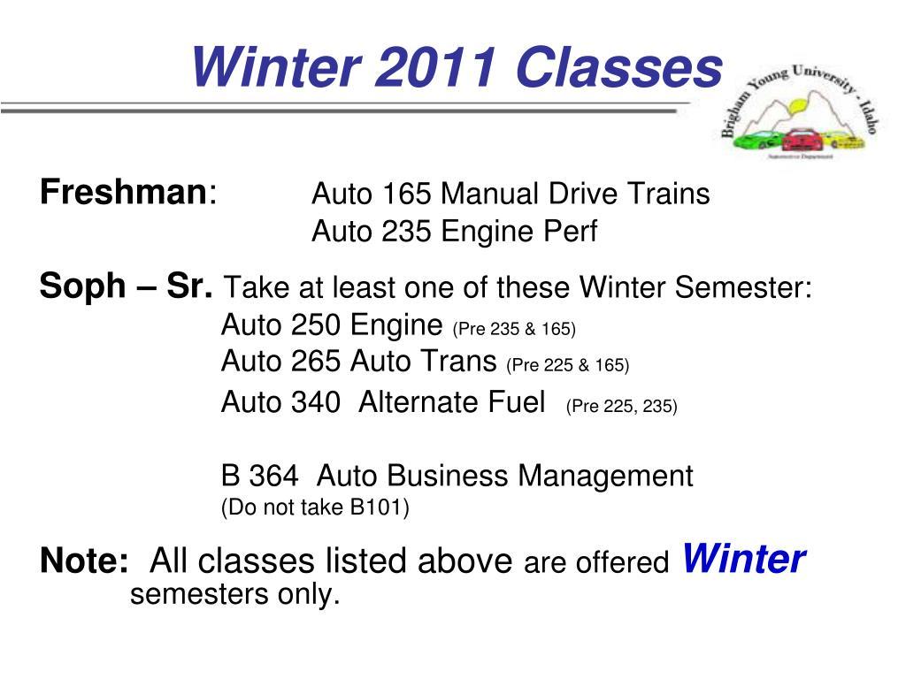 Winter 2011 Classes