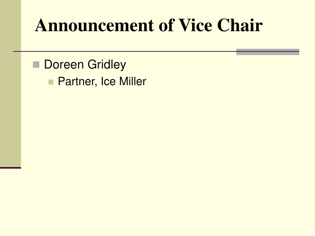 Announcement of Vice Chair