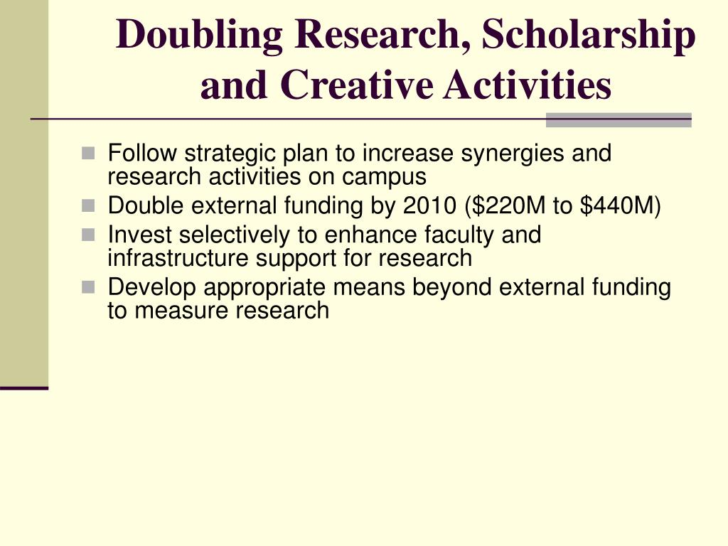 Doubling Research, Scholarship
