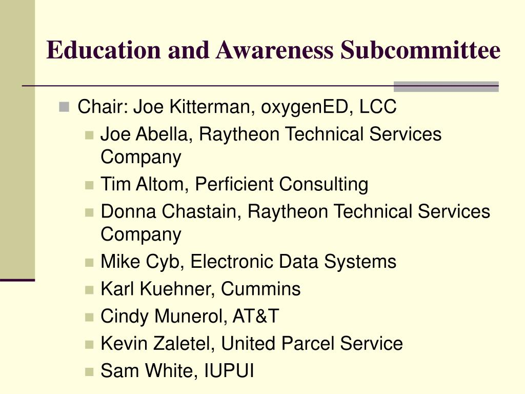 Education and Awareness Subcommittee