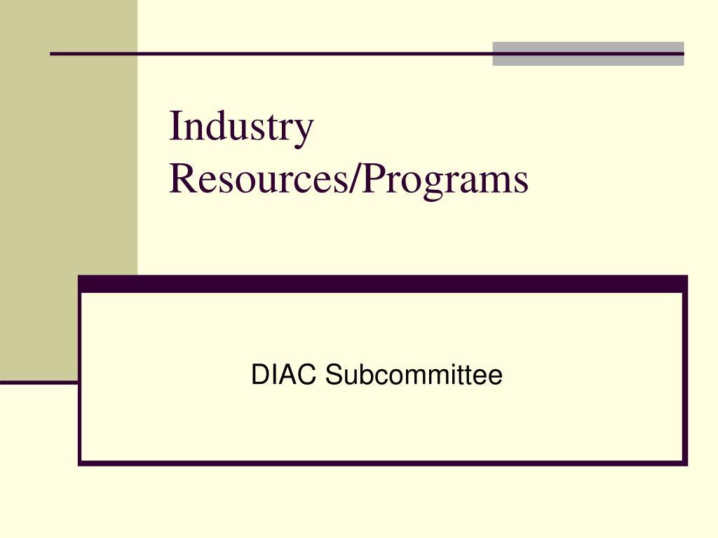 Industry Resources/Programs