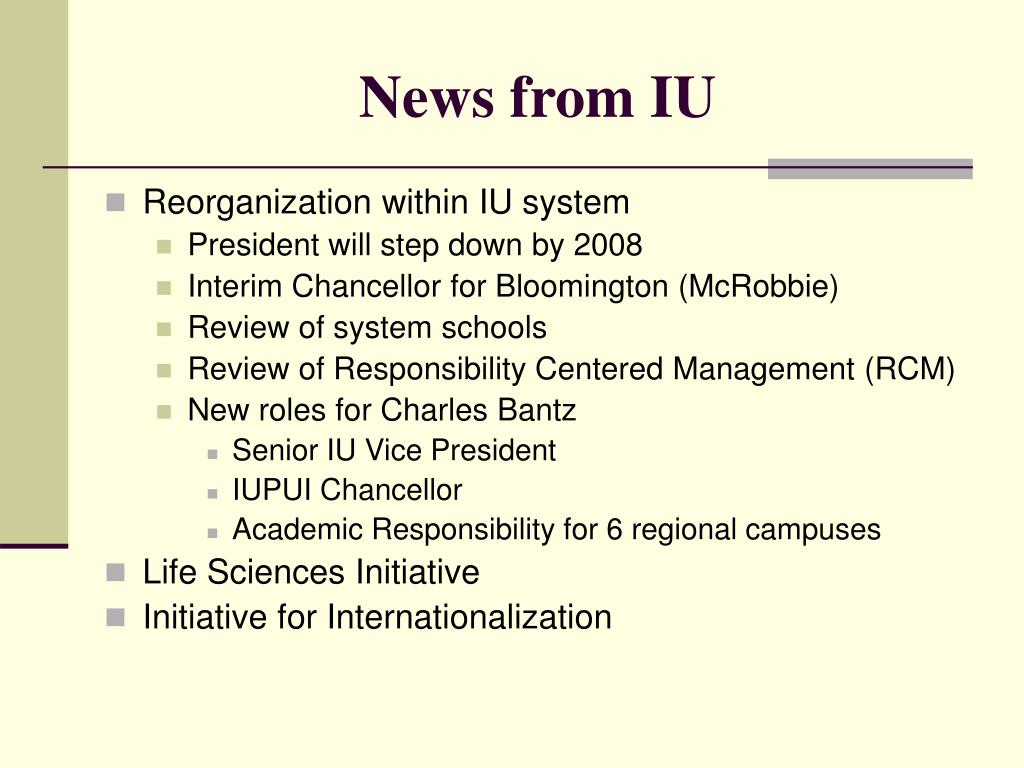 News from IU