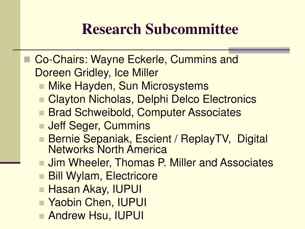 Research Subcommittee
