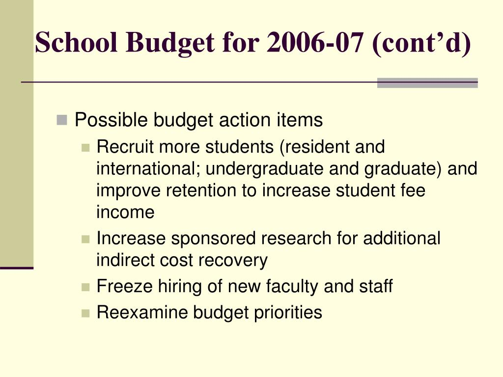 School Budget for 2006-07 (cont'd)