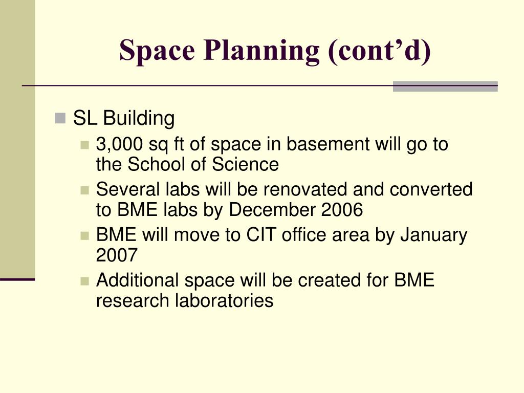Space Planning (cont'd)