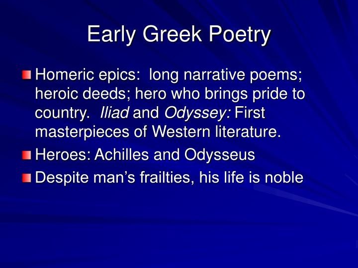 Early greek poetry