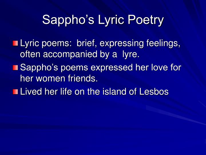 Sappho s lyric poetry