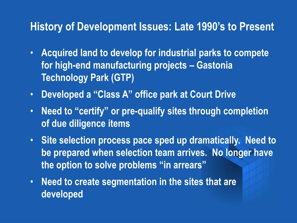 History of Development Issues: Late 1990's to Present