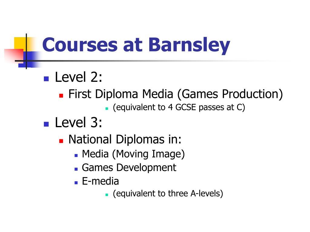 Courses at Barnsley