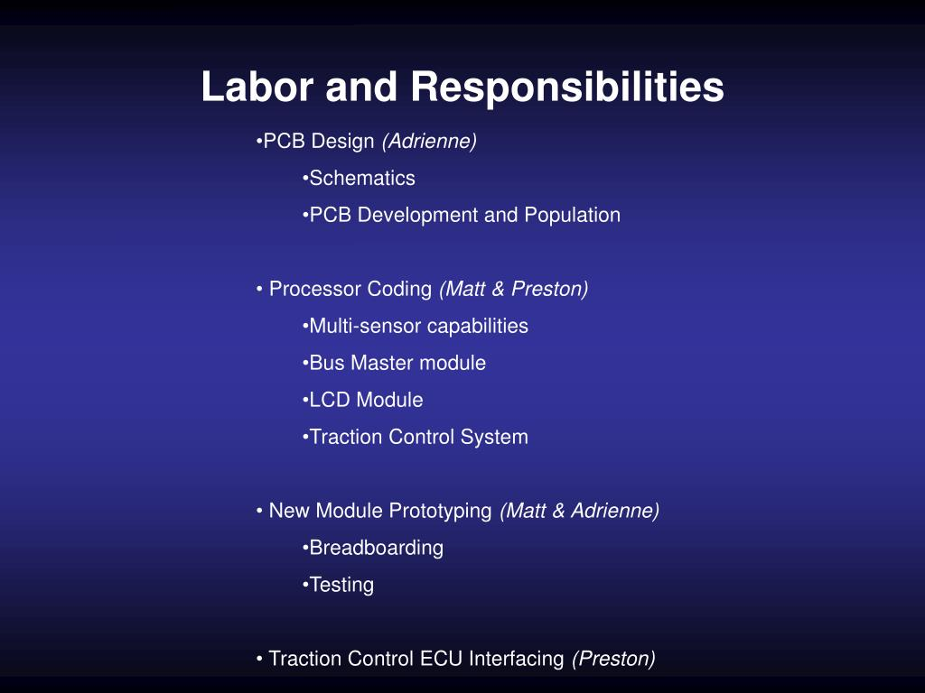 Labor and Responsibilities