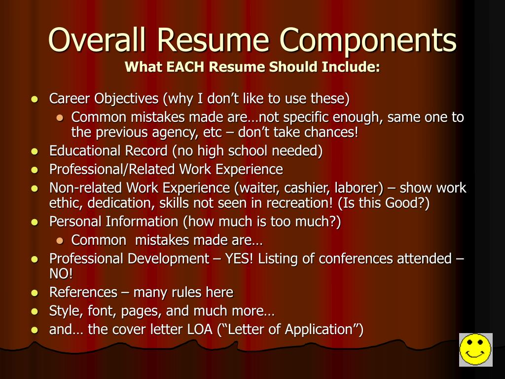 Overall Resume Components