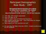 participant demographics ross study 1997