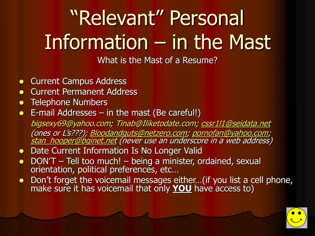 """""""Relevant"""" Personal Information – in the Mast"""