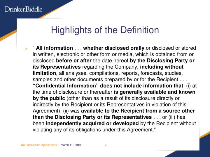 Highlights of the Definition