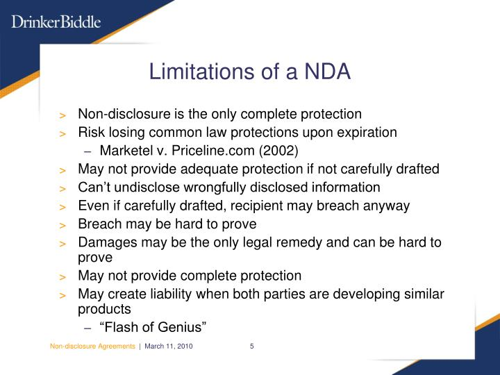 Limitations of a NDA