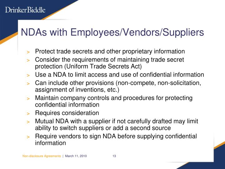 NDAs with Employees/Vendors/Suppliers