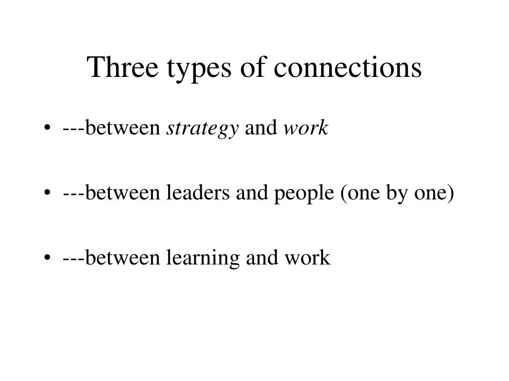 Three types of connections