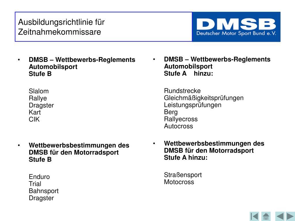 DMSB – Wettbewerbs-Reglements Automobilsport