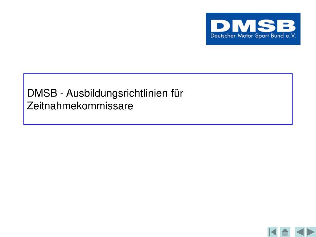 DMSB - Ausbildungsrichtlinien für Zeitnahmekommissare