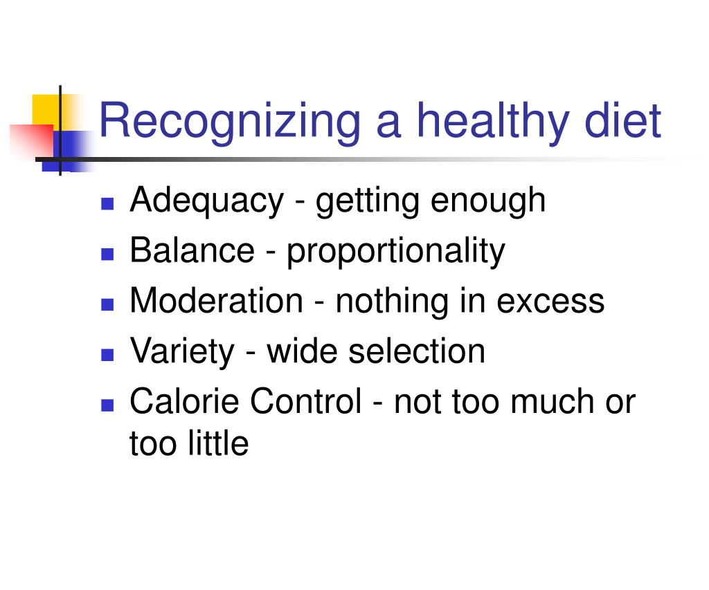 Recognizing a healthy diet