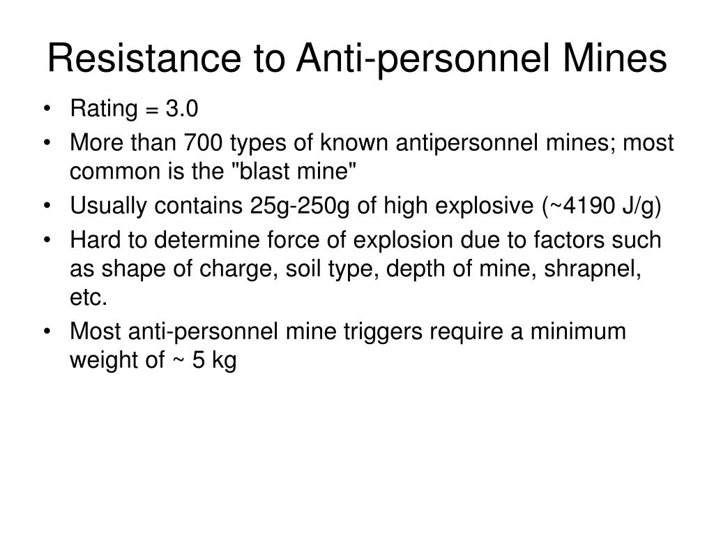 Resistance to Anti-personnel Mines