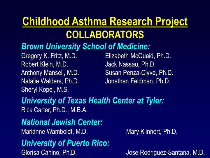 Childhood Asthma Research Project