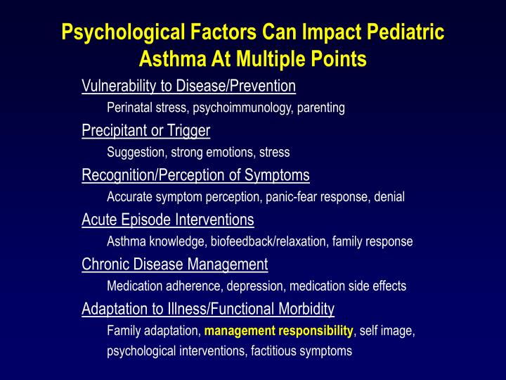 Psychological Factors Can Impact Pediatric Asthma At Multiple Points
