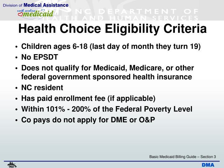 Health Choice Eligibility Criteria